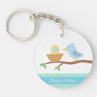 Fiesta de bienvenida al bebé: Pájaro azul lindo Llavero Redondo Acrílico A Doble Cara