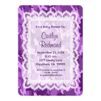 Fiesta de bienvenida al bebé púrpura A01B del Invitación 12,7 X 17,8 Cm