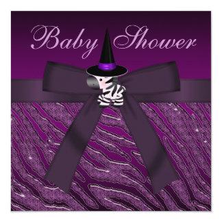 Fiesta de bienvenida al bebé púrpura de la cebra y invitación 13,3 cm x 13,3cm
