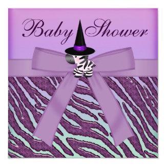 Fiesta de bienvenida al bebé púrpura del estampado invitación 13,3 cm x 13,3cm