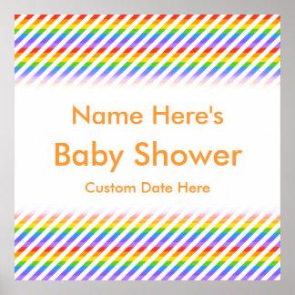 Fiesta de bienvenida al bebé. Rayas con colores de Poster