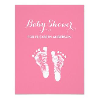 Fiesta de bienvenida al bebé recién nacida rosada invitación 10,8 x 13,9 cm
