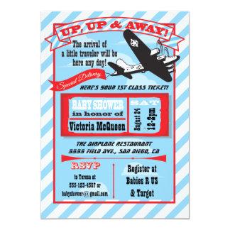 Fiesta de bienvenida al bebé retra del aeroplano invitación 12,7 x 17,8 cm