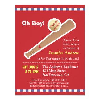 Fiesta de bienvenida al bebé roja del béisbol invitación 10,8 x 13,9 cm