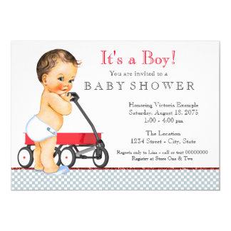 Fiesta de bienvenida al bebé roja del carro invitación 12,7 x 17,8 cm
