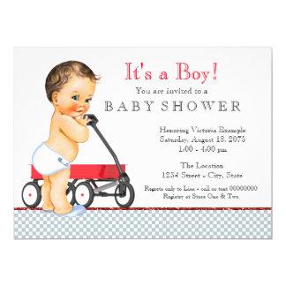 Fiesta de bienvenida al bebé roja del carro invitación 16,5 x 22,2 cm