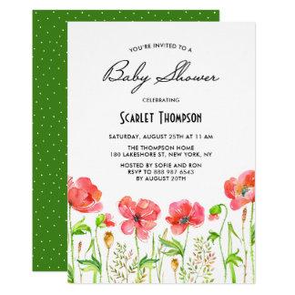Fiesta de bienvenida al bebé roja del jardín de invitación 12,7 x 17,8 cm