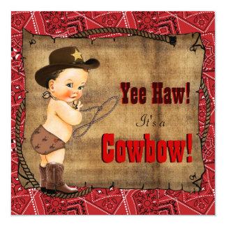 Fiesta de bienvenida al bebé roja del vaquero del invitación 13,3 cm x 13,3cm