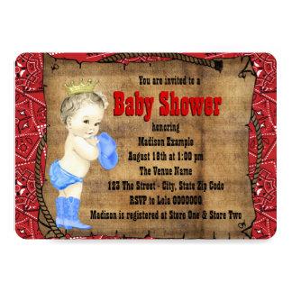 Fiesta de bienvenida al bebé roja del vaquero invitación 12,7 x 17,8 cm