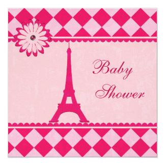 Fiesta de bienvenida al bebé rosada de Argyle de Invitación 13,3 Cm X 13,3cm