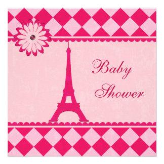 Fiesta de bienvenida al bebé rosada de Argyle de l Invitacion Personalizada