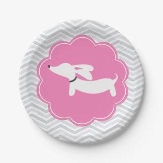 Fiesta de bienvenida al bebé rosada de Doxie de la Plato De Papel