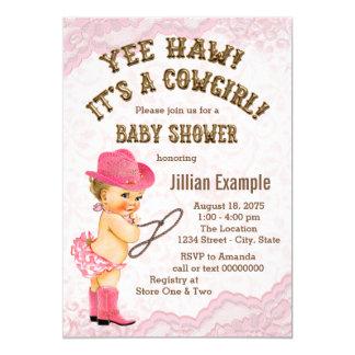Fiesta de bienvenida al bebé rosada de la vaquera invitación 12,7 x 17,8 cm