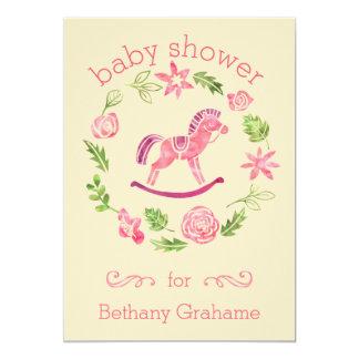 Fiesta de bienvenida al bebé rosada del caballo invitación 12,7 x 17,8 cm