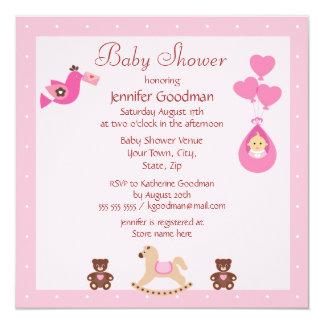 Fiesta de bienvenida al bebé rosada del caballo invitación 13,3 cm x 13,3cm