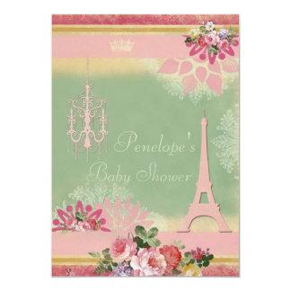 Fiesta de bienvenida al bebé rosada del chica de invitaciones personales