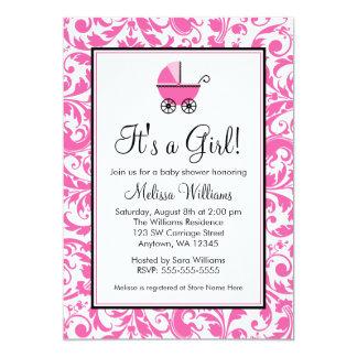 Fiesta de bienvenida al bebé rosada del chica del invitación 12,7 x 17,8 cm