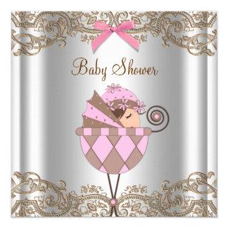 Fiesta de bienvenida al bebé rosada del chica del invitación 13,3 cm x 13,3cm