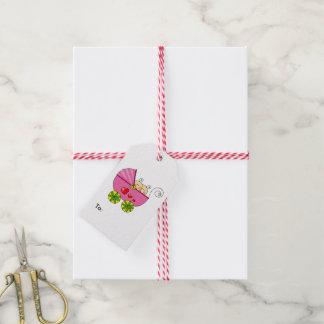 fiesta de bienvenida al bebé rosada del cochecito etiquetas para regalos