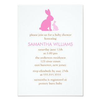 Fiesta de bienvenida al bebé rosada del conejo de invitación 12,7 x 17,8 cm