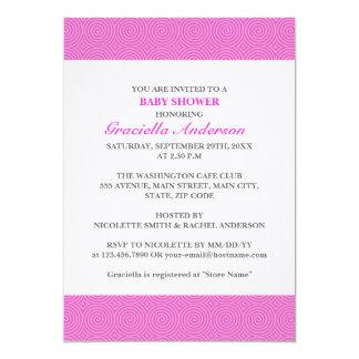 Fiesta de bienvenida al bebé rosada del modelo de invitación 12,7 x 17,8 cm
