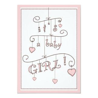 Fiesta de bienvenida al bebé rosada del móvil de invitación 12,7 x 17,8 cm