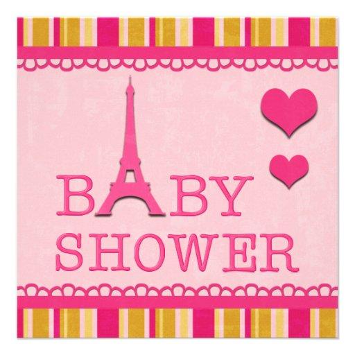 Fiesta de bienvenida al bebé rosada linda de la invitación personalizada