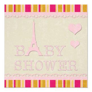 Fiesta de bienvenida al bebé rosada linda de la invitación 13,3 cm x 13,3cm