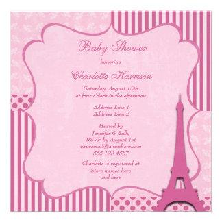 Fiesta de bienvenida al bebé rosada linda de la to comunicados