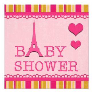 Fiesta de bienvenida al bebé rosada linda de la to invitación personalizada
