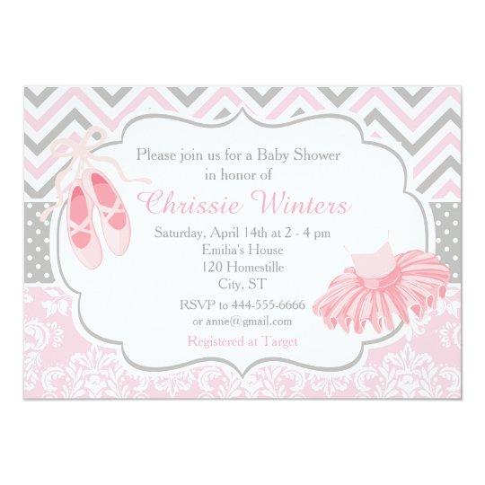 Fiesta de bienvenida al bebé rosada y gris de la invitación 12,7 x 17,8 cm