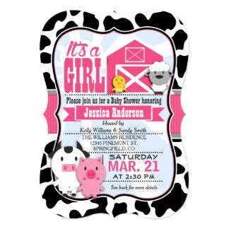 Fiesta de bienvenida al bebé rosada y negra de la invitación 12,7 x 17,8 cm