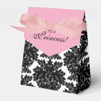Fiesta de bienvenida al bebé rosada y negra del caja de regalos