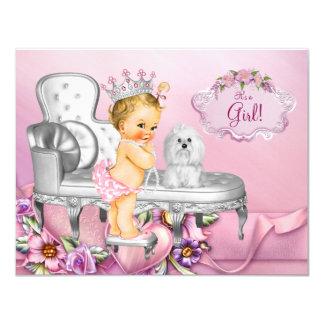 Fiesta de bienvenida al bebé rubia de princesa invitación 10,8 x 13,9 cm