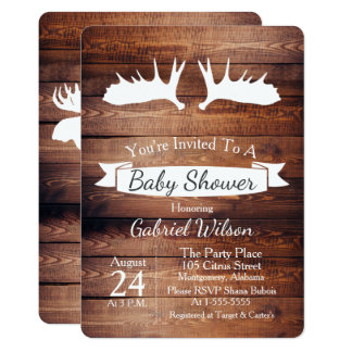 Fiesta de bienvenida al bebé rústica de la asta de invitación 12,7 x 17,8 cm