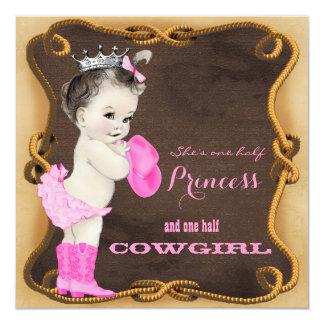 Fiesta de bienvenida al bebé rústica de la vaquera comunicado personalizado