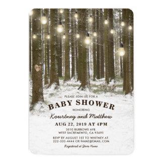 Fiesta de bienvenida al bebé rústica del árbol del invitación 12,7 x 17,8 cm