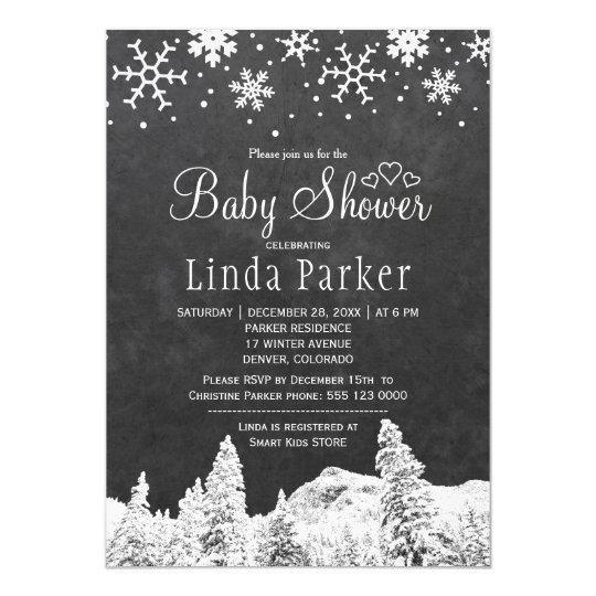 Fiesta de bienvenida al bebé rústica del invierno invitación 12,7 x 17,8 cm