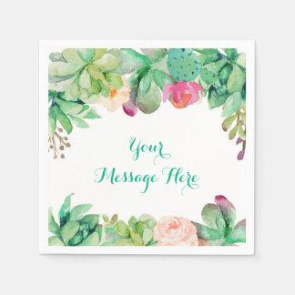 Fiesta de bienvenida al bebé suculenta floral servilletas de papel