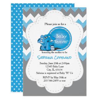 Fiesta de bienvenida al bebé tonta azul divertida invitación 12,7 x 17,8 cm