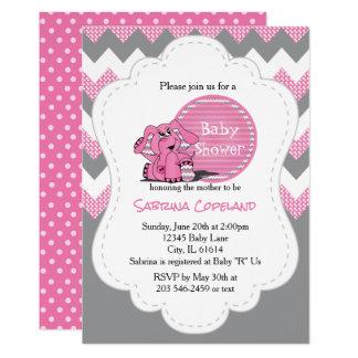 Fiesta de bienvenida al bebé tonta rosada invitación 12,7 x 17,8 cm