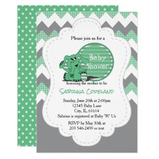 Fiesta de bienvenida al bebé tonta verde divertida invitación 12,7 x 17,8 cm