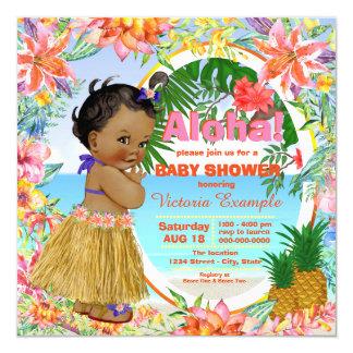 Fiesta de bienvenida al bebé tropical hawaiana de invitación 13,3 cm x 13,3cm