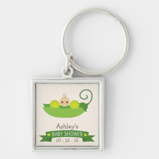 Fiesta de bienvenida al bebé verde del guisante de llavero cuadrado plateado
