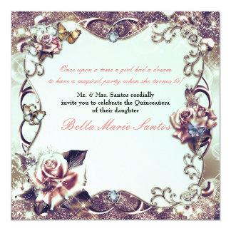 Fiesta de bronce de Quinceañera de los rosas y de Invitación 13,3 Cm X 13,3cm