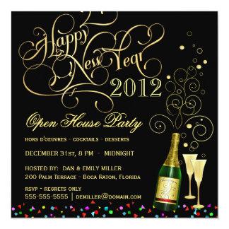 Fiesta de casa abierta de Noche Vieja - negro y Invitación 13,3 Cm X 13,3cm