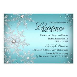 Fiesta de cena azul de navidad del copo de nieve comunicado personalizado