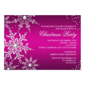 Fiesta de cena cristalino de navidad del copo de invitaciones personales