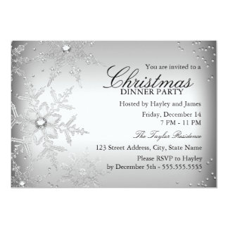 Fiesta de cena cristalino de plata de navidad del comunicados personalizados