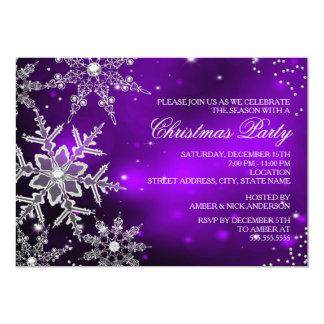 Fiesta de cena cristalino púrpura de navidad del invitacion personalizada